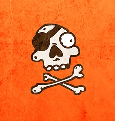 Pirate skull and bones cartoon vector