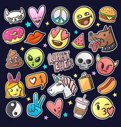 Pop art fashion patches pins badges stickers vector