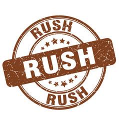Rush brown grunge round vintage rubber stamp vector