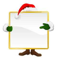 santa behind christmas sign vector image