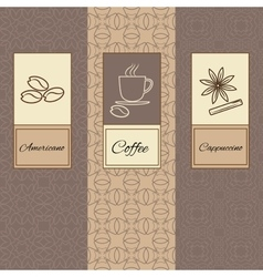 Set linearornament package brochures coffee vector