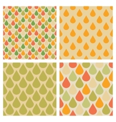 Set of drops seamless patterns in retro vector