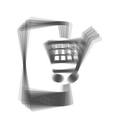 Shopping on smart phone sign gray icon vector