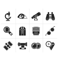 Silhouette optic and lens equipment icons vector