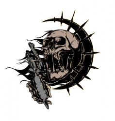 skull with tattoo machine logo vector image vector image