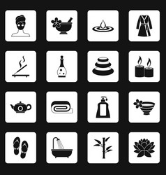 Spa treatments icons set squares vector