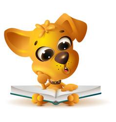 Yellow dog reading open book vector