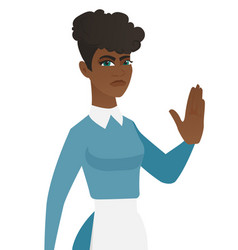 Young african-american cleaner showing palm hand vector