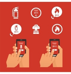 Emergency fire alert via telephone set of icon vector