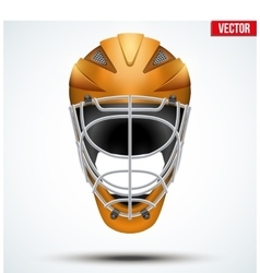 Classic orange goalkeeper hockey field helmet vector
