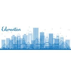 Outline edmonton skyline with blue buildings vector