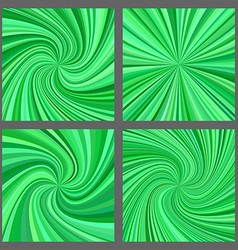 Green spiral and starburst background design set vector