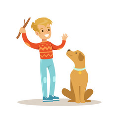 cute smiling boy playing with his dog colorful vector image