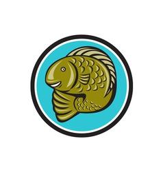 Trout Fish Jumping Circle Cartoon vector image