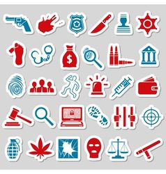 Crime and justice stickers vector