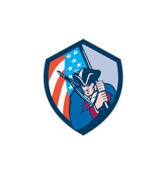 American patriot holding brandish flag shield vector