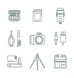 Dark outline various digital photography tools vector