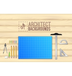 Architect wood table project with professional vector