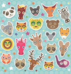 Sticker set of funny animals muzzle teal vector