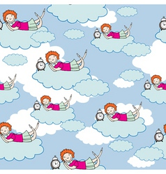 Child on cloud vector