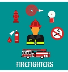 Firefighter profession color flat icons vector