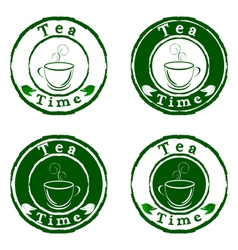 Tea time stamps set isolated on white background vector