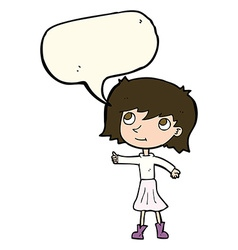 Cartoon happy girl with speech bubble vector