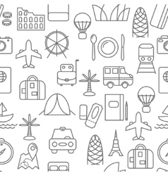 Thin line icons seamless pattern vector