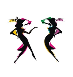 silhouette women in fiesta vector image