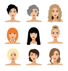 Set of woman hair styling flat vector