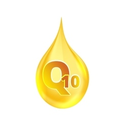 Coenzyme q10 gold oil icon vector