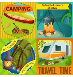 Summer camping compositions vector