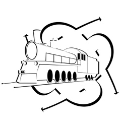 Abstract icon with an old locomotive-1 vector image
