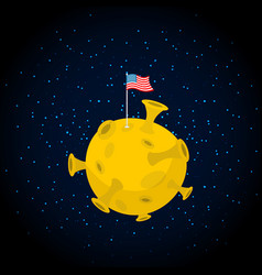 America on moon usa flag on yellow planet dark vector
