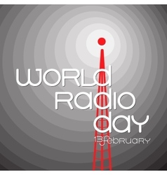 Banner for world radio day on grey background vector