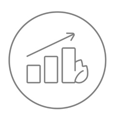 Bar graph with leaf line icon vector