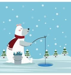 Bear cartoon of christmas season design vector