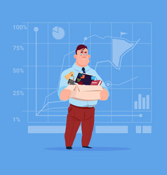 business man hold box with office stuff search for vector image