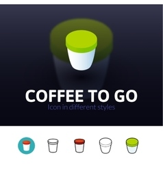 Coffee to go icon in different style vector