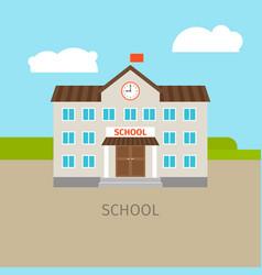 Colored school building vector