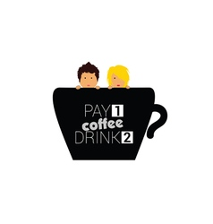 Cup of coffee with couple vector