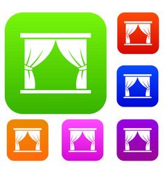 Curtain on stage set collection vector