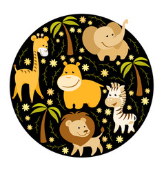 cute cartoon african animals vector image