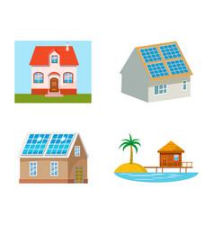 eco house icon set cartoon style vector image
