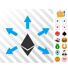 Ethereum emission icon with bonus vector