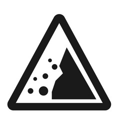 falling rocks sign line icon vector image