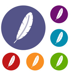 Feather pen icons set vector
