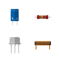 Flat electronics set of transistor bobbin resist vector