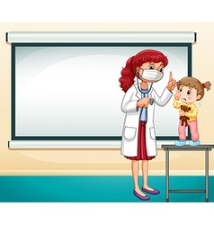 Frame template with doctor and little girl vector