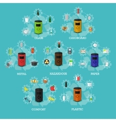 Garbage recycle bins concept vector